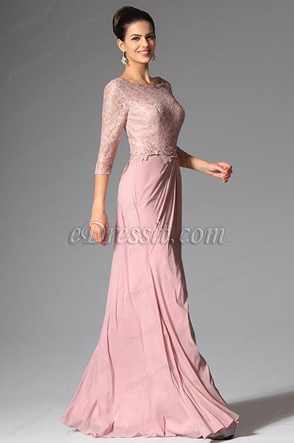 Rosado vestido para madre de la novia con mangas elegante 26147801 - Detalles de boda elegantes ...