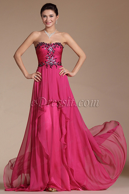 Charming Strapless Hand-sewn Appliques Evening Gown (C00144712)