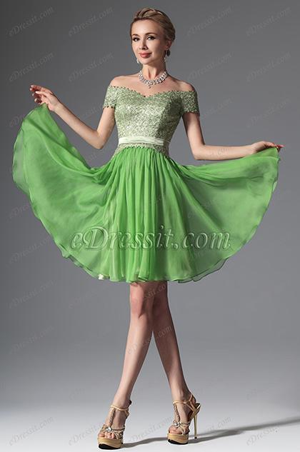 eDressit 2014 Новое Модное Зелёное Коктейльное Платье/Платье на Бал Офф Плечи (04144055)