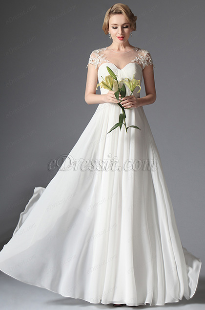 eDressit Short Sleeves Long Wedding Gown (01141807)