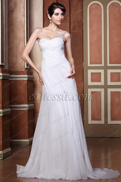 Vestido de Novia Solo Hombro Tul Arriba con Espalda de Piedritas de Diseño (02133107)