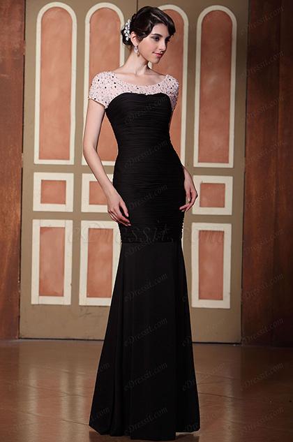 Robe de soirée sirène noire et nude avec perles fantaisies (C36145000)