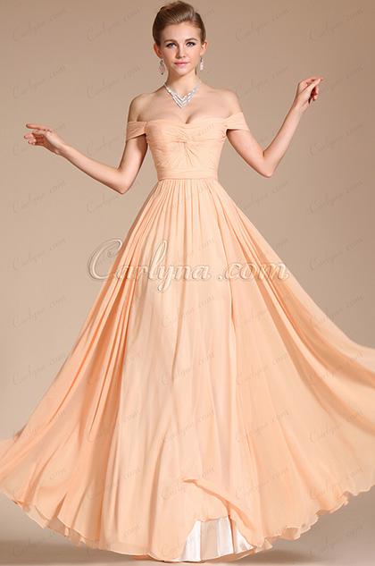 Elegant Peach Off Shoulder Chiffon Gown Bridesmaid Dress