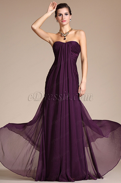 Graceful Purple Kim Kardashian Evening Dress Bridesmaid Dress (C00094706)