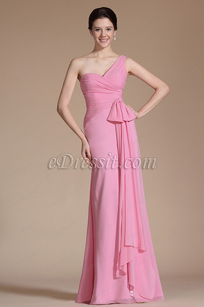 One Shoulder Pleat Fitted Evening Dress/ Formal Gown (C00143101)