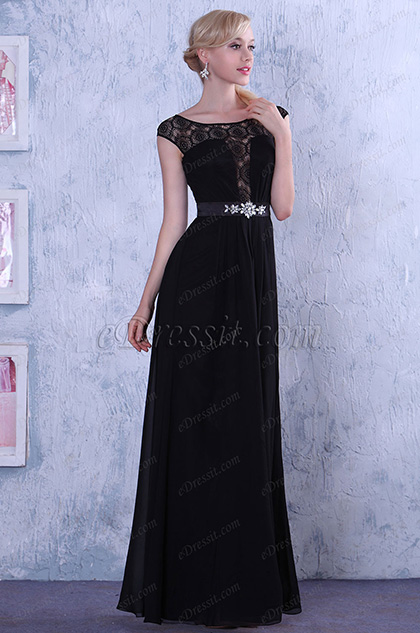 Fabulous Top Lace Cap Sleeves Evening Dress Formal Gown (02132200)