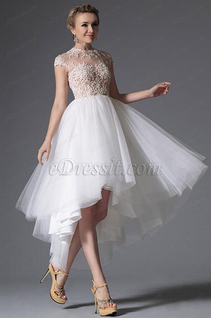 eDressit White High Neck Cap Sleeves Wedding Gown (01142007)