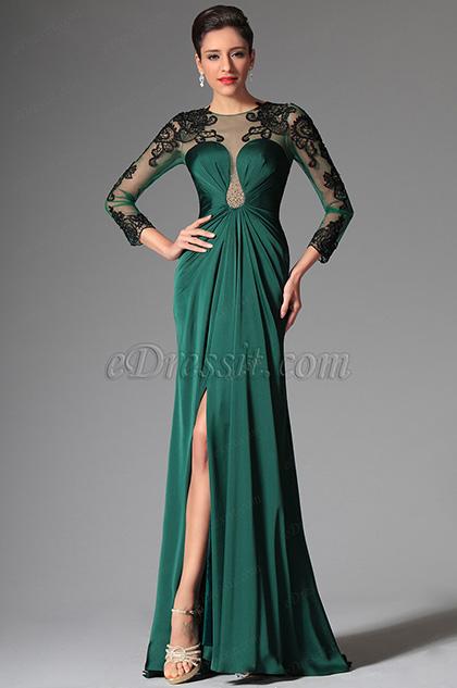 Verde Oscuro Vestido de Noche Vestido de Bailede Moda Mangas Transparentes (02148904)
