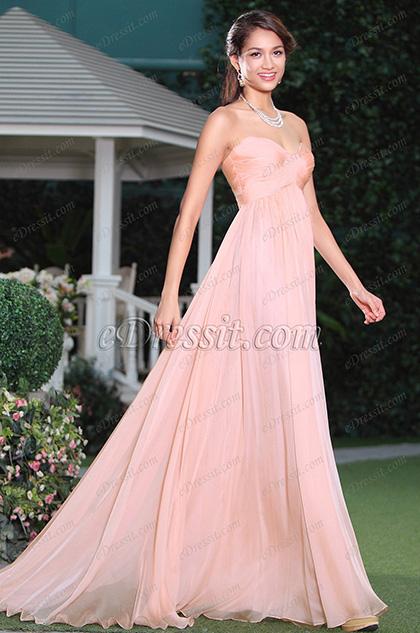 Robe de soirée rose froncée sans manche décolleté coeur (C00117901)