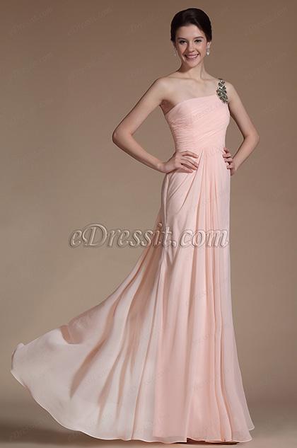 2014 Nouveauté Rose Uni-bretelle Robe de Soirée (C00146701)