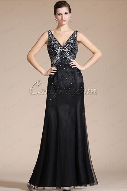 2014 Nouveauté Noire Sexy V-col Perles sur le Top Robe de Soirée (C36140500)