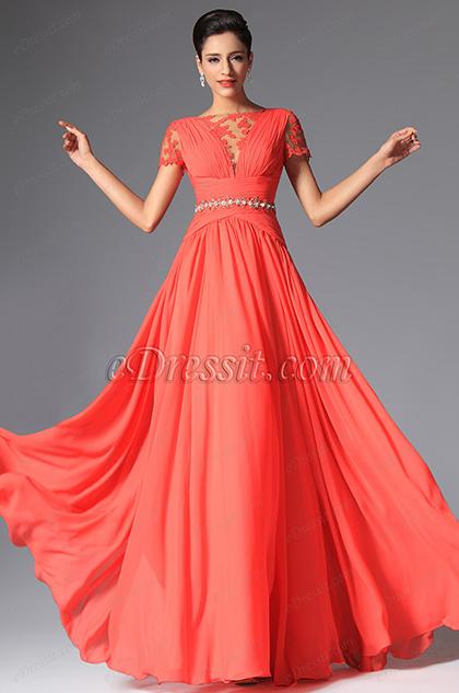 eDressit Coral Short Sleeves Evening Dress (02148257)