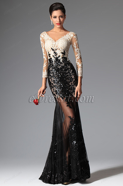 49240a972e32 eDressit Sexy V-cut Sequin Lace Sleeves Evening Prom Ball Gown ...