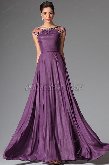 eDressit 2014 Nouveauté Violette Manches Couvertes Perles Robe de Soirée Longue(02148306)