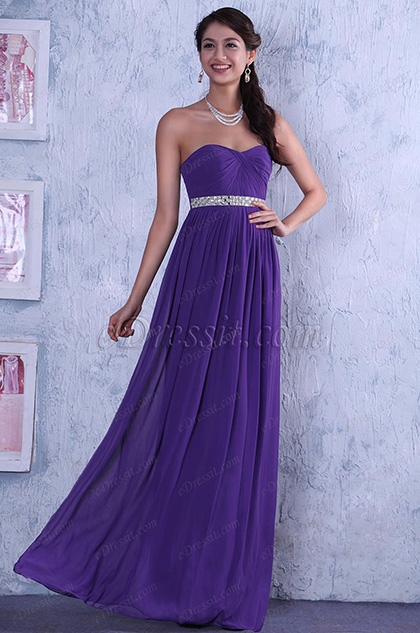 Elegant Strapless A Line Evening Dress Bridesmaid Dress