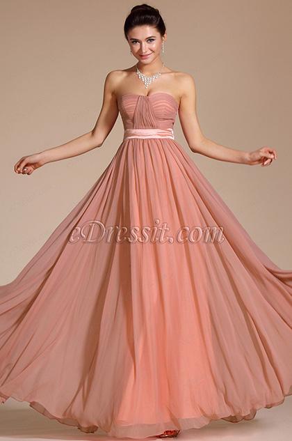 Simple Elegant Strapless Evening Dress Bridesmaid Dress (C00117346)
