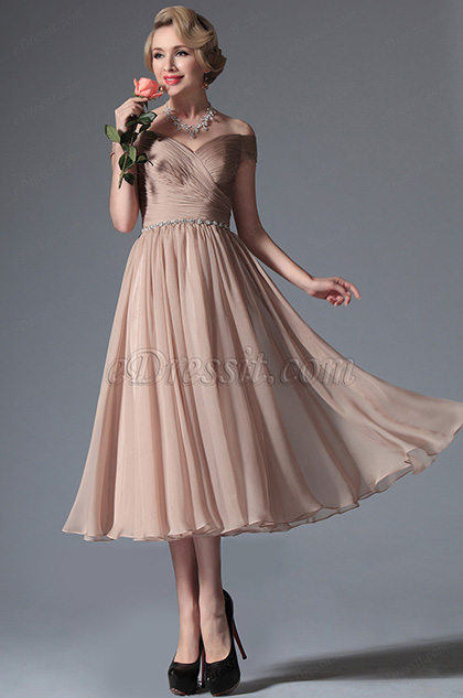 eDressit Rosy Brown Off Shoulder Tea Length Dress (04145046)