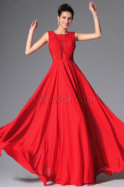 eDressit Robe de Soirée rouge  Longue dentelle sans manche (02149202)