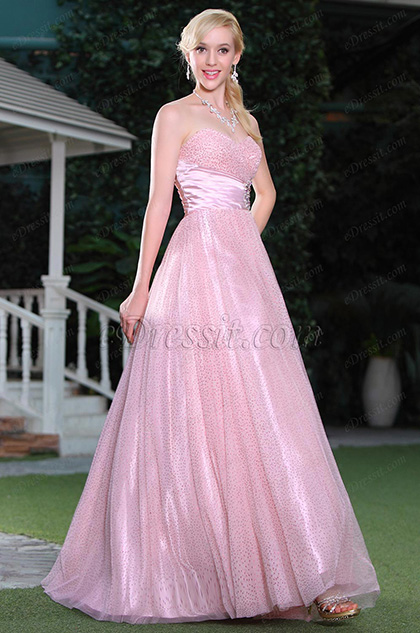 Fluffy Pink A Line Sweetheart Neck Formal Dress Ball Gown