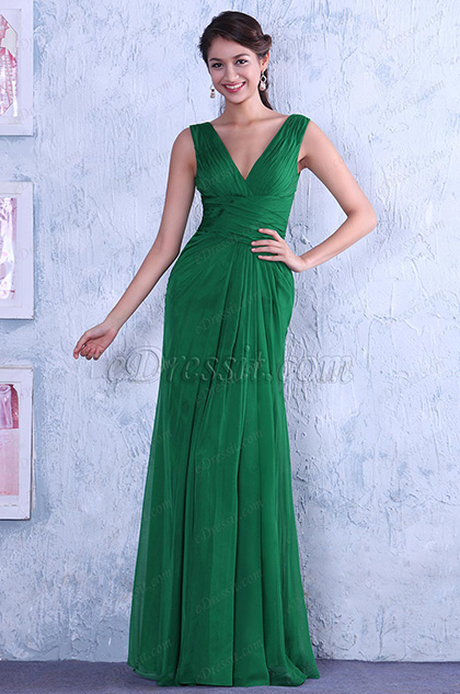 Elegant Sleeveless V Neck Hollow Out Lace Back Evening Gown Bridesmaid Dress (C00145904)