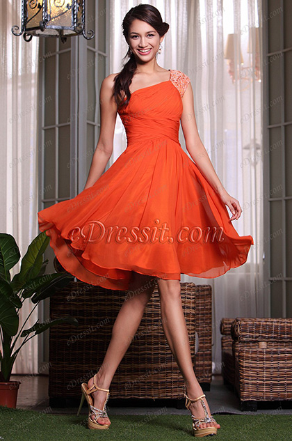 Reddish Orange Ruched One Shoulder Party Dress Cocktail Dress (04135010)