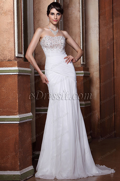 Strapless Flat Neckline Beaded Lace Applique Wedding gown (C02133807)