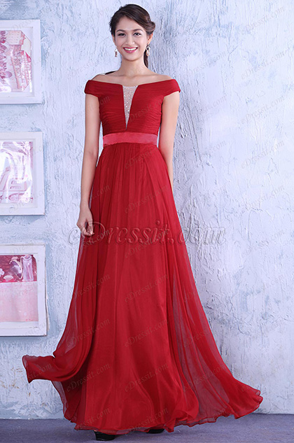 Gorgeous Red Off-shoulder Evening Gown Long Wedding Guest Dress (C02142602)