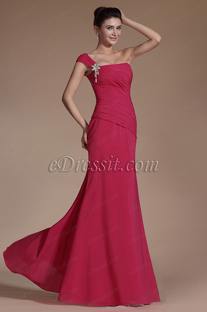 Hot Pink One Shoulder Evening Dress Bridesmaid Dress (C00140612)