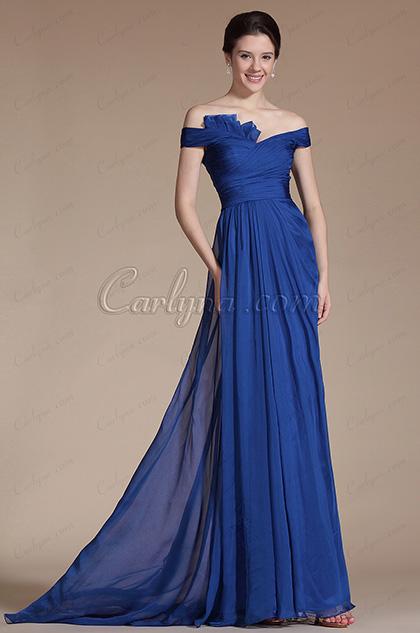 eDressit  Vestido de noche 2014 Nuevo Azul Hombro Caido (C00144605)