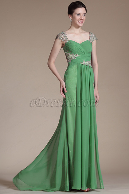 Green Lace Cap Sleeves Long Evening Dress (C00146318)