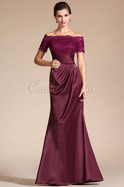 Stylish Short Sleeves Beadings Mother of the Bride Dress (C26132317)