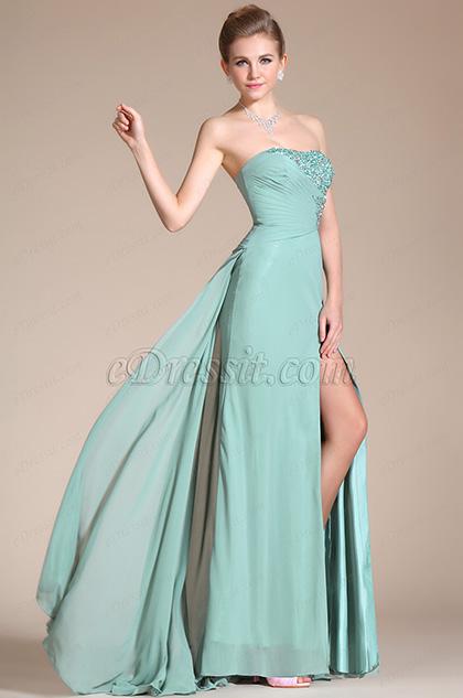 2014 Nuevo Vestido Verde brillante sin tirantes de Graduacion/dama de honor (C36141004)