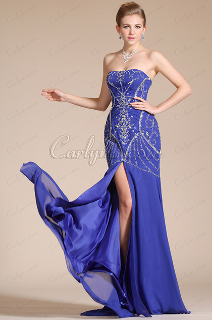 Blue Beadings Deco Top High Slit Evening Dress/Bridesmaid Dress (C36140305)