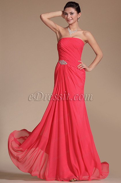 Simple Pleated A-line Evening Dress Bridesmaid Dress (C00143302)