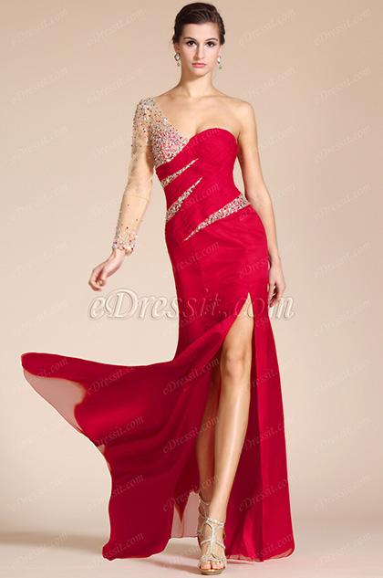 2014 Nuevo Vestido Rojo rebordeado de una manga y tajo alto Formal/ dama de honor (C36140802