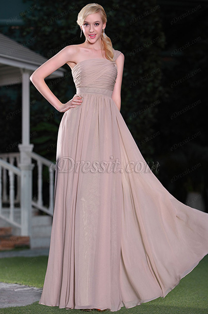 Robe demoiselle d'honneur asymétrique brune rosé coupe simple (00115146)