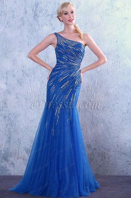 Asymmetrisch Ausschnitt Blau Glänzende Dekoration Abendkleid Prom Kleid (C36146005)
