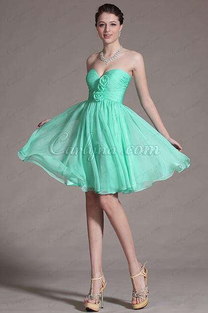 2014 Новое Бирюзовое Вырез в Форме Сердечка Платье для Подружек Невесты(С07141404)