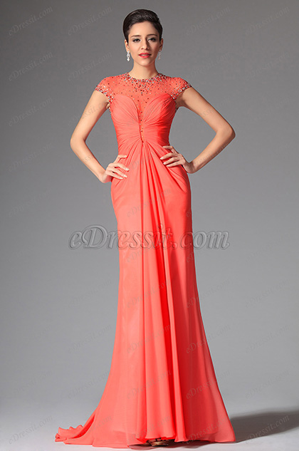 Edressit Coral High Neck Cap Sleeves Long Evening Dress