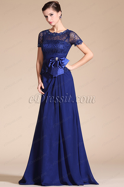 Royal Blue Round Neckline Mother of the Bride Dress (C26140205)