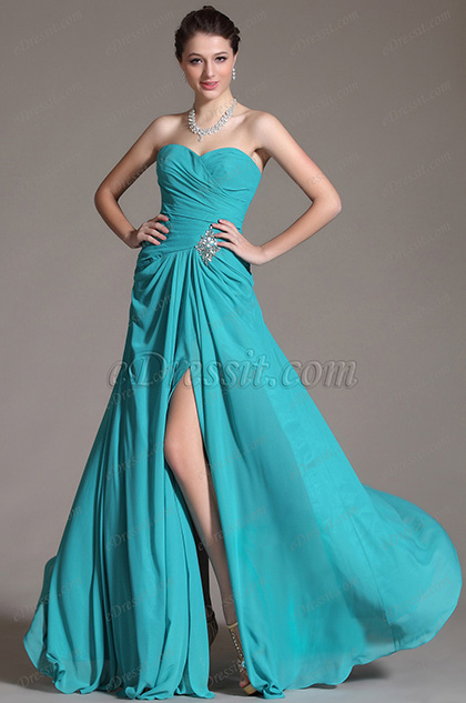 Charming Sweetheart Neckline High Slit Evening Dress Prom Gown(C00134105)