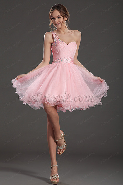 eDressit Süß Rosa Ein Schulter Cocktail Kleid Party Gown (35130801)