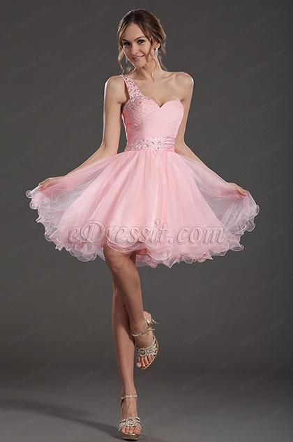 construction rationnelle la vente de chaussures arrive eDressit Pretty Pink One Strap Cocktail Dress Party Gown ...