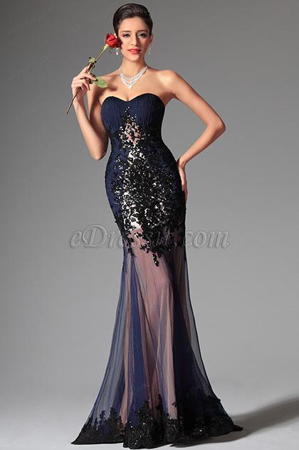 Azul Marino Vestido de Baile Vestido de Noche Escote de Corazón Atractivo(02147605)