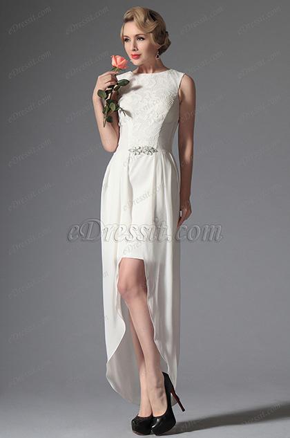Blanco Vestido de Fiesta Corta Vestido de Velada Escote Redondo(04144607)