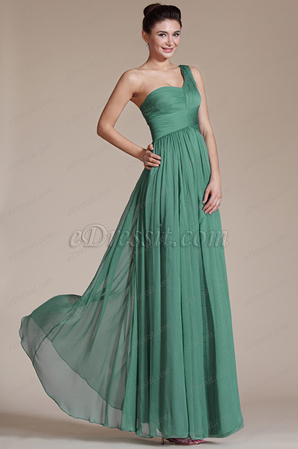 Green Super Fabulous One Shoulder Evening Dress Bridesmaid Dress (C00120604)