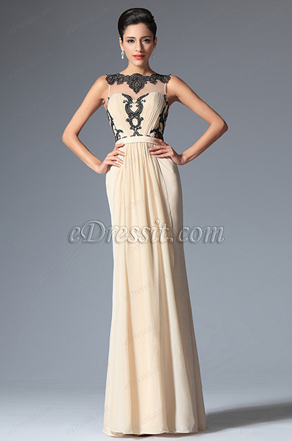 eDressit Champagne Sleeveless Pleated Evening Dress (02148414)