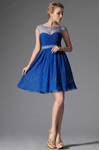 eDressit 2014 Novedad Azul Tul Arriba Piedritas Vestido de Fiesta Corto (04144405)
