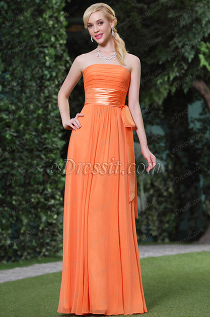 Robe de soirée bustier orange coupe simple élégante(C00119210)