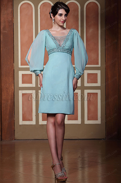 Gorgeous Blue V Neck Long Sleeve Party Dress Day Dress (C35143132)